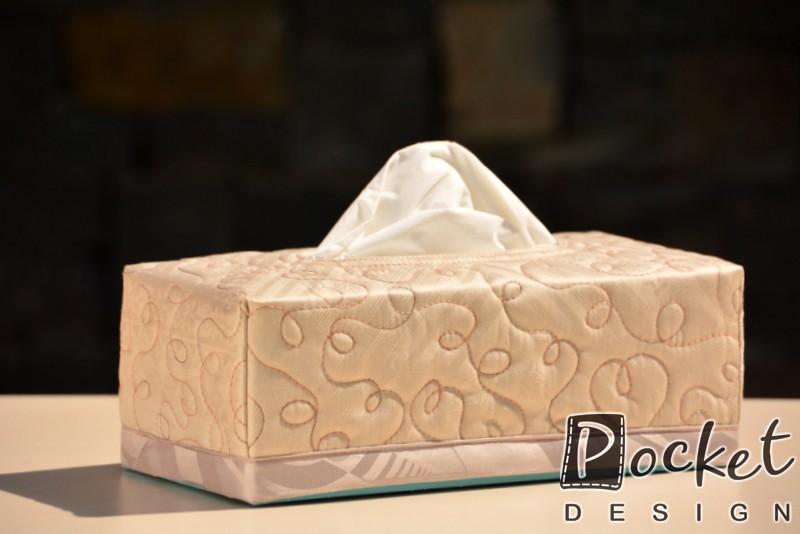 Box na kapesníky béžový s hnědým duhovým prošitím