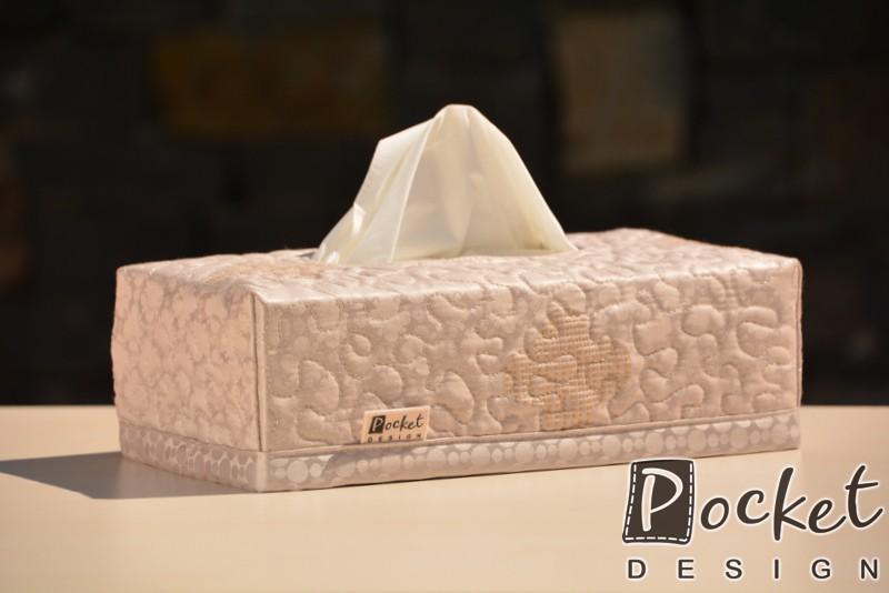 Box na kapesníky béžový s vytkávaným vzorem