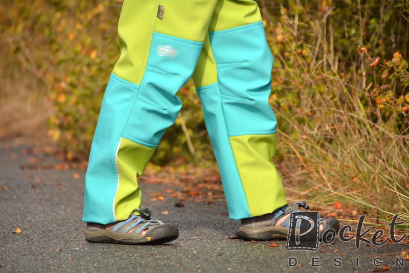 Softshellové kalhoty dětské tyrkys se zelenou