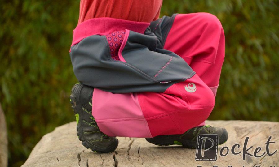 Softshellové kalhoty dětské trojbarevné růžovo-šedé
