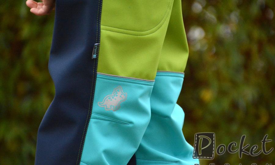 Softshellové kalhoty dětské modré se zelenou a tyrkysem