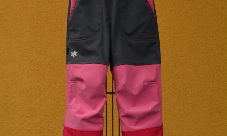 Softshellové kalhoty dětské trojbarevné šedo-růžové