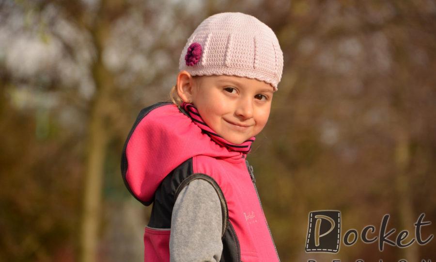 Softshellová vesta dětská růžovo-černá s kapucí