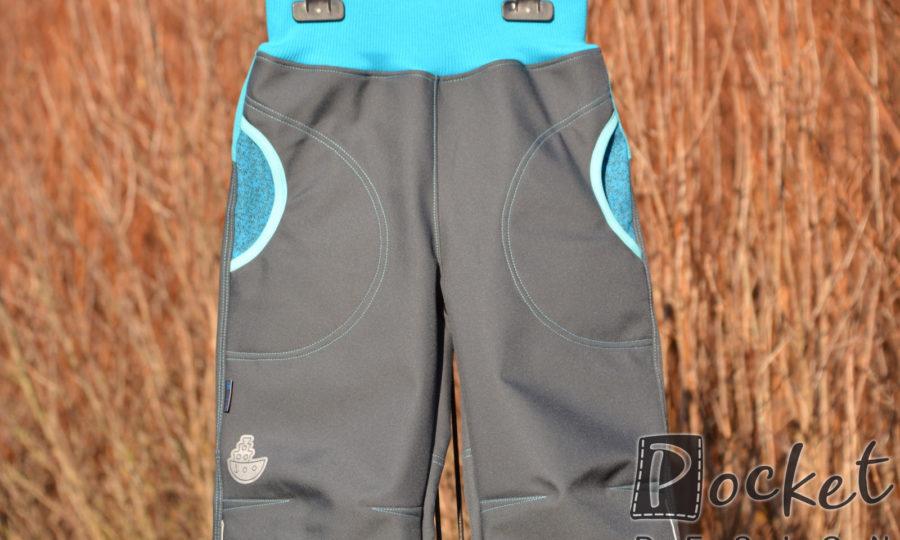 Softshellové kalhoty dětské antracit s tyrkysovou