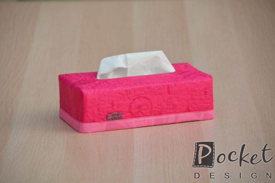 Box na kapesníky růžový se světlým lemem
