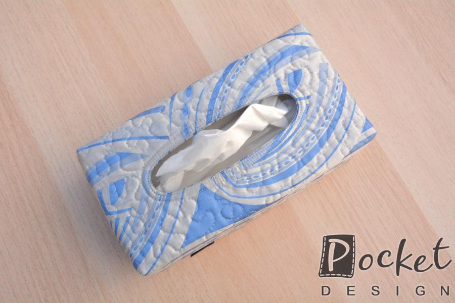 Box na kapesníky v bledě modré s béžovou