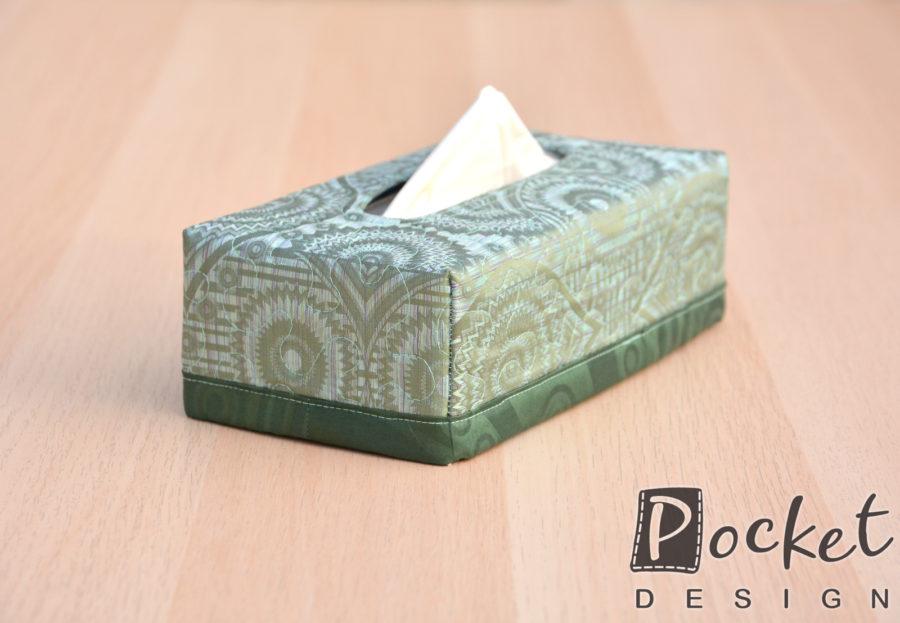 Box na kapesníky zelený s tmavým lemem