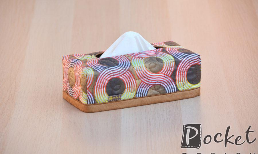 Box na kapesníky s kruhy hnědý