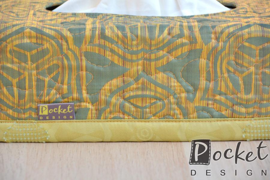 Box na kapesníky v olivově zelené se vzorem