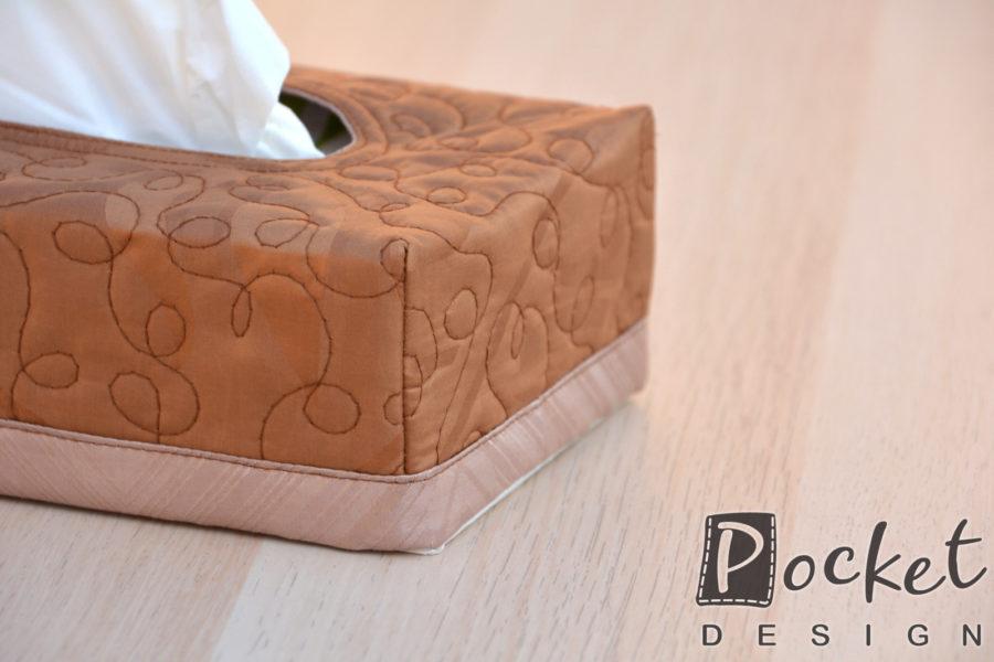 Box na kapesníky čokoládově hnědý se světlým lemem