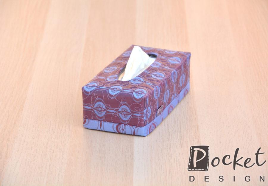 Box na kapesníky vínový s modrým vzorem
