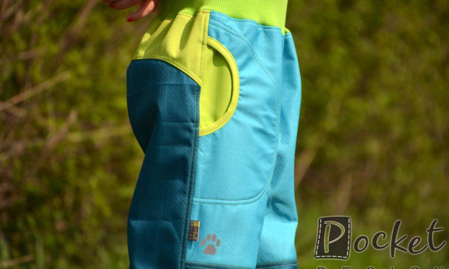 Softshellové kalhoty dětské tyrkys s petrolejovou