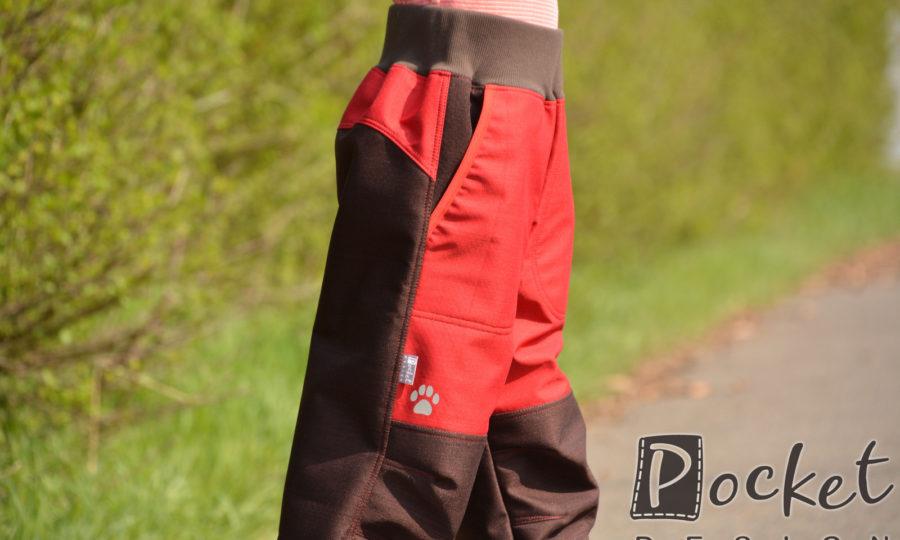 Softshellové kalhoty dětské červená s hnědou