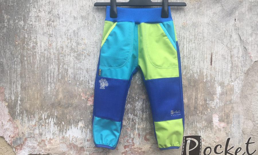 Softshellové kalhoty dětské tyrkys, zelená a modrá