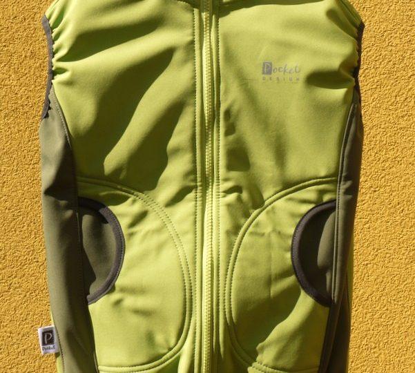 Softshellová vesta dětská limetková doplněná khaki