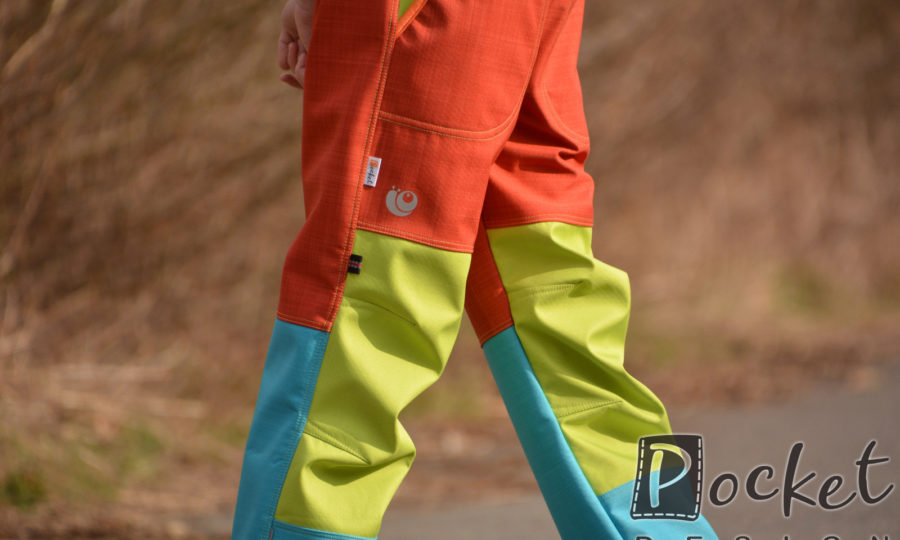 Softshellové kalhoty dětské tyrkys/limetka/oranžová