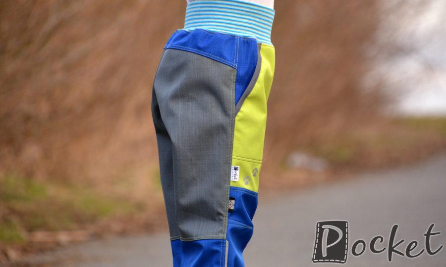 Softshellové kalhoty dětské modrá/šedá/limetka
