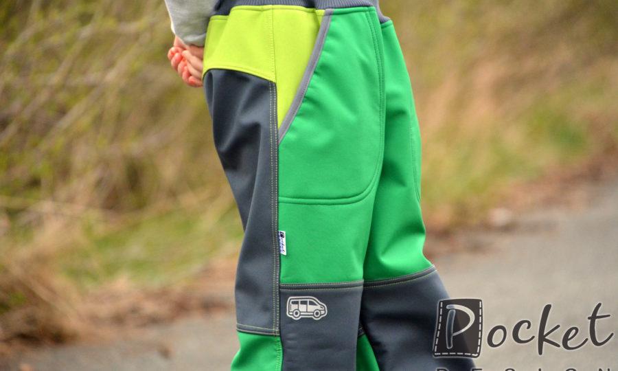 Softshellové kalhoty dětské zelená/šedá/limetka