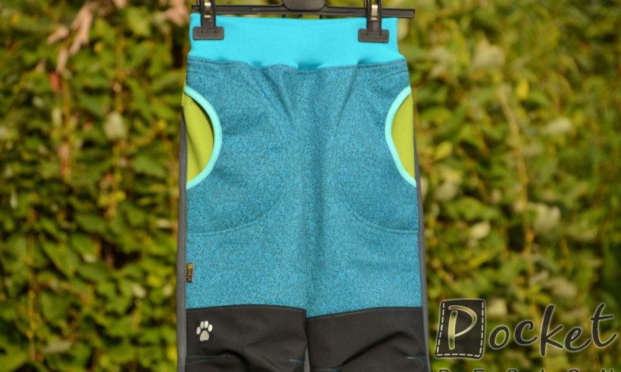 Softshellové kalhoty dětské žíhaný tyrkys s šedou a černou