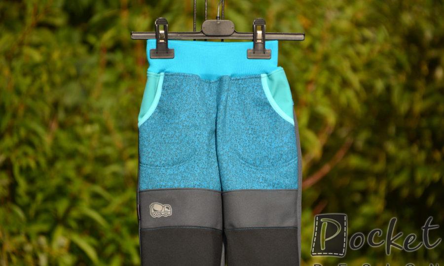 Softshellové kalhoty dětské žíhaný tyrkys s šedočernou