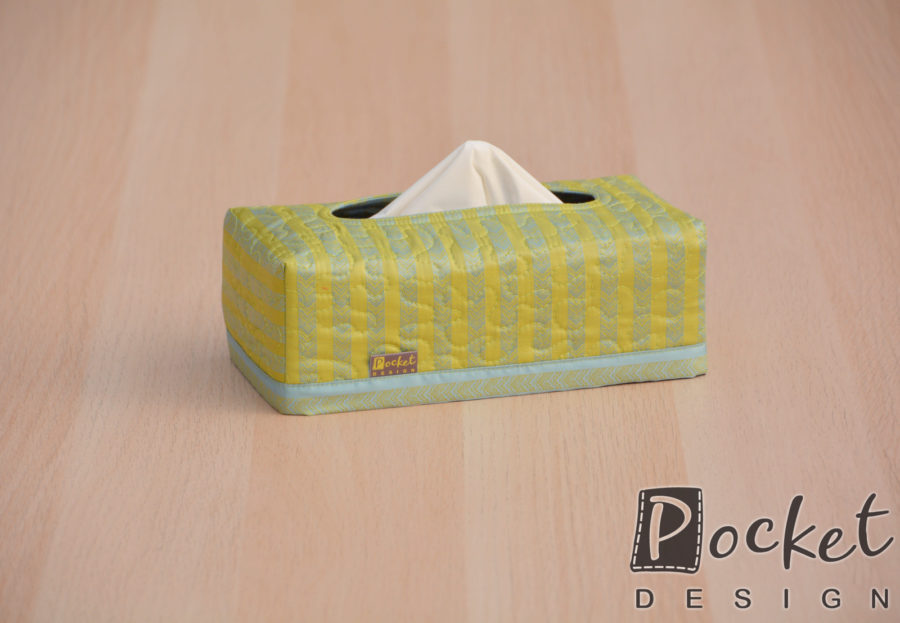 Box na kapesníky zelenkavý s šedým vzorováním