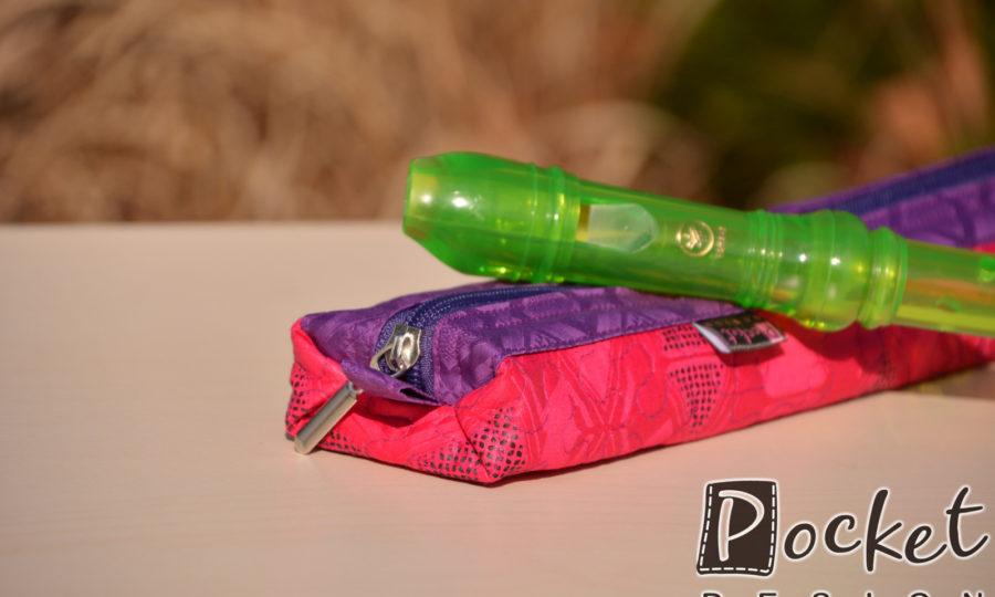Obal, pouzdro na dětskou flétnu růžová s fialovou