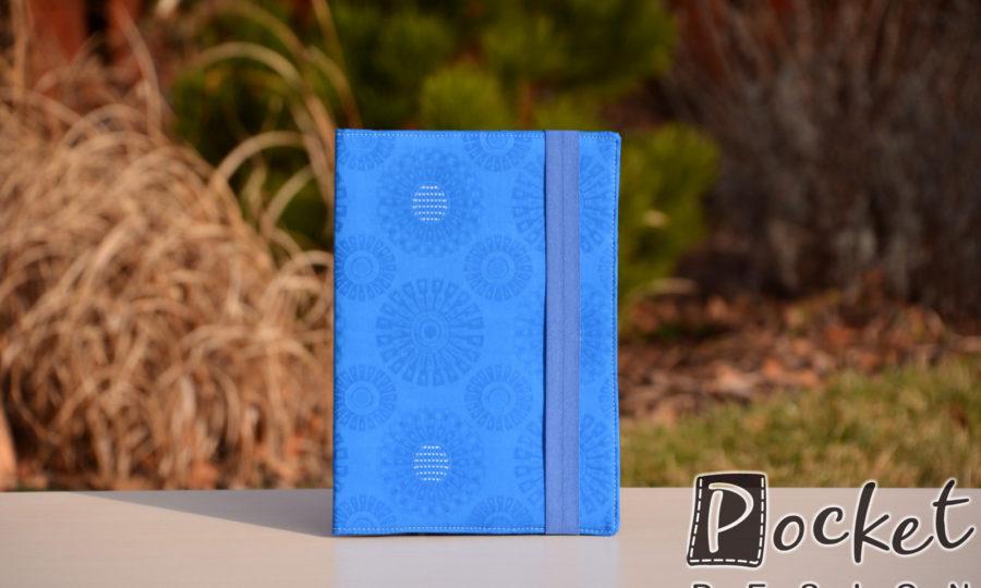 Obal na diář, knihu modrý s pravidelnými květy