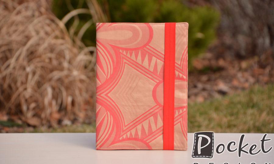Obal na diář, knihu červený se vzorem