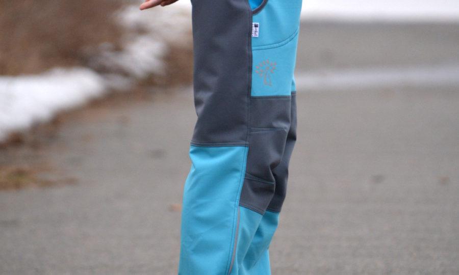 Softshellové kalhoty dětské letní modré