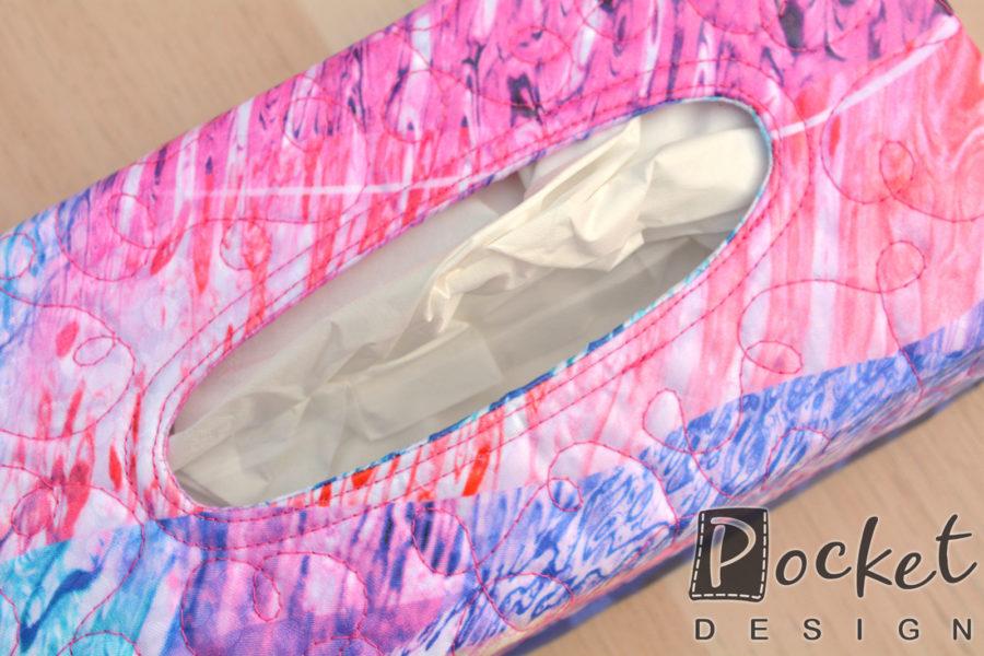 Box na kapesníky s fialovou růžovou a modrou