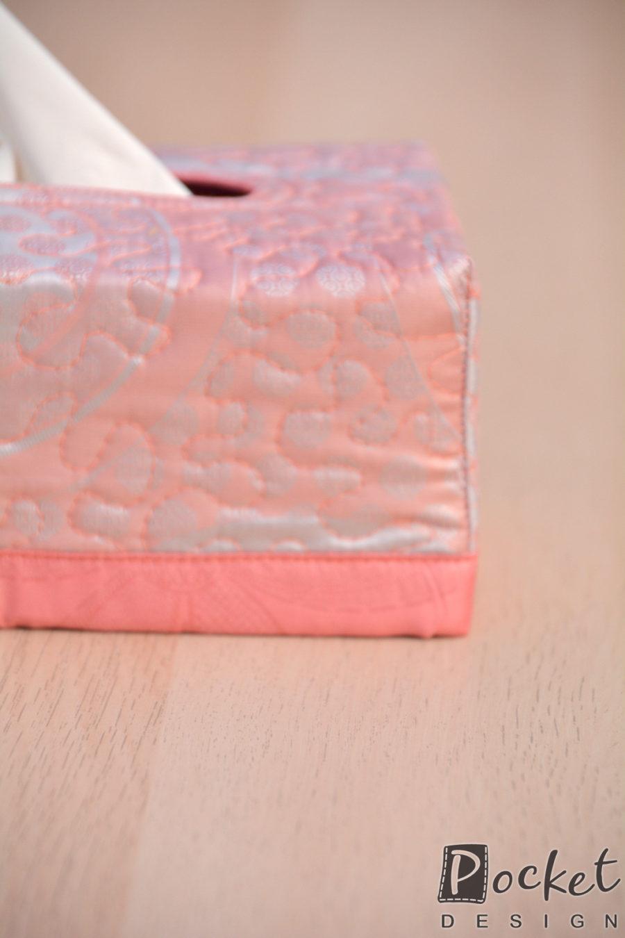 Box na kapesníky v lehké starorůžové s šedou