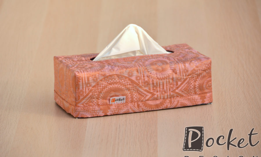 Box na kapesníky v lehce cihlové se vzorem