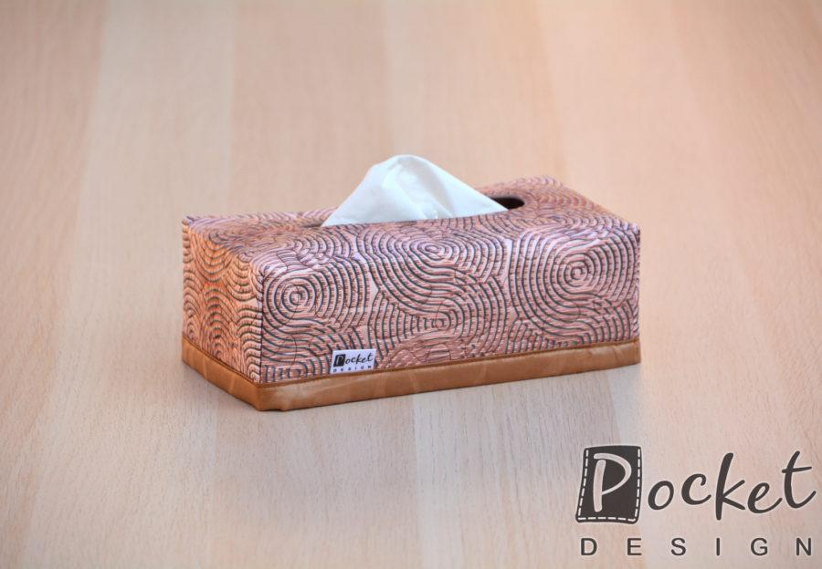 Box na kapesníky hnědo béžový s kruhy
