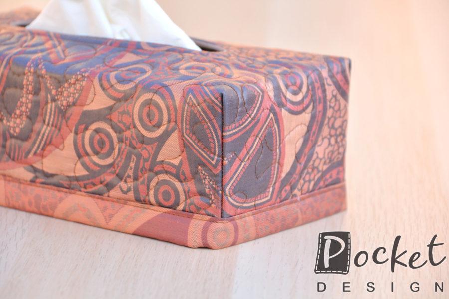 Box na kapesníky čokoládově cihlový se vzorem
