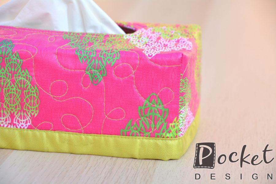 Box na kapesníky sytě růžový s ornamenty