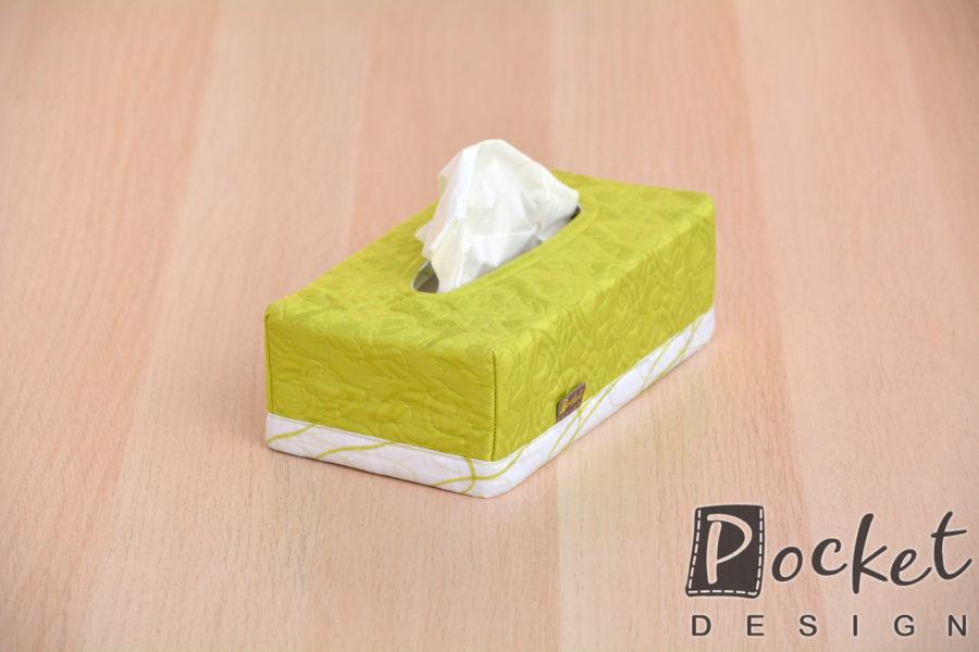 Box na kapesníky limetkově zelený s bílým lemem