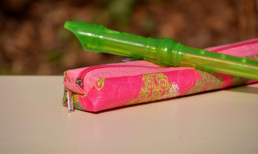 Obal, pouzdro na dětskou flétnu v růžové